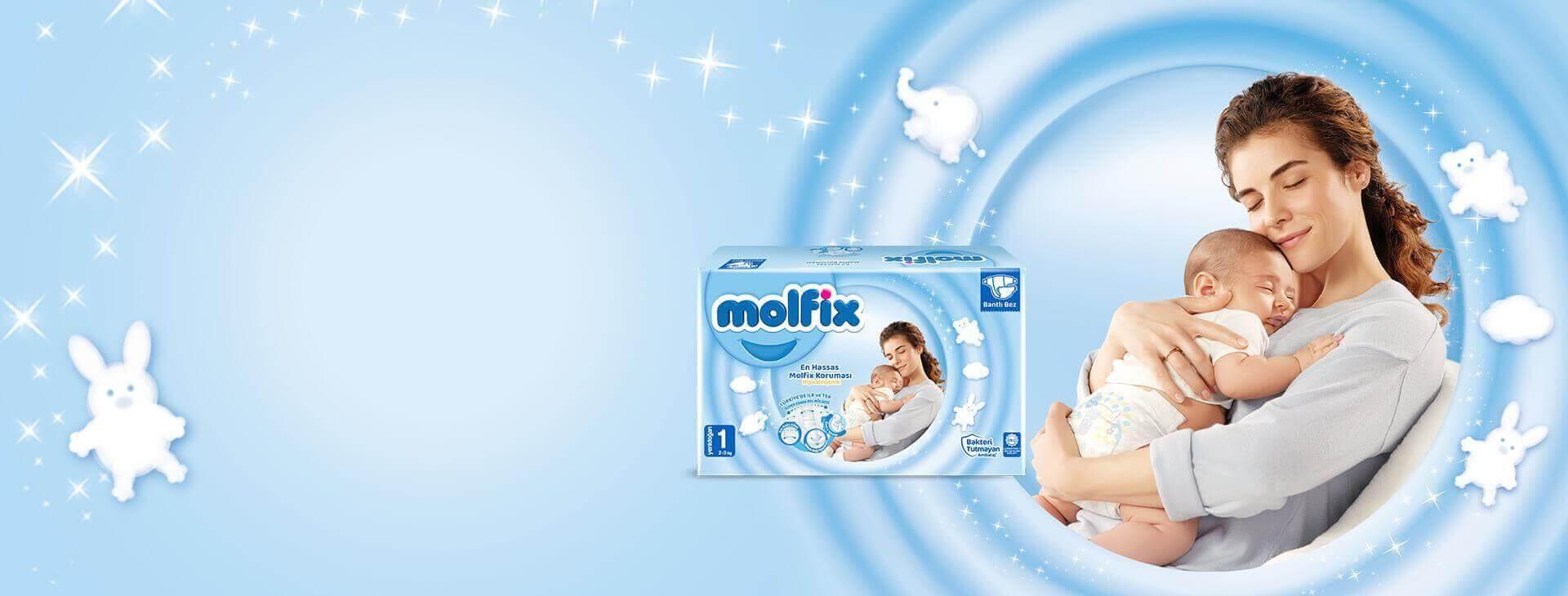 Bantlı Bez - Molfix 3D Molfix Yenidoğan Bantlı Bebek Bezi